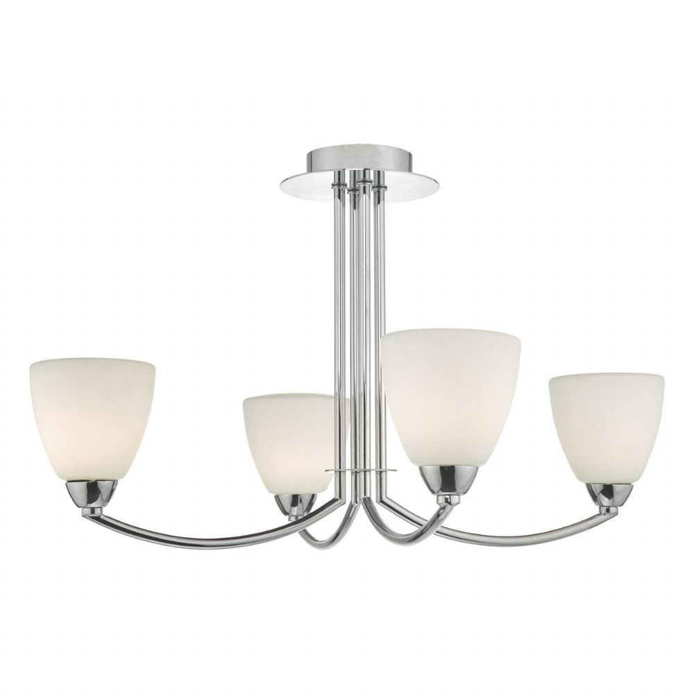 Edanna 4lt Semi Flush Polished Chrome & Opal Glass IP44 (double insulated) BXEDA0450-17